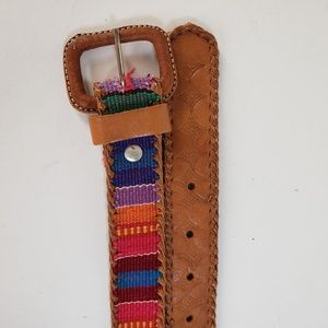 Multi-Color Embroidered Leather Belt